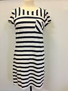 Foil Nautical Blue And White Stripe T Shirt Dress Size Small New Without Tags