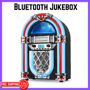 Nostalgic Bluetooth Jukebox With Retro Color Changing Led Light Wood Countertop