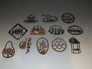 Complete Set 12 Vintage Silver Plated Metal 12 Days Of Christmas Ornaments