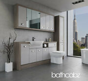 Bathroom Fitted Furniture Light Grey Gloss/driftwood A4 1800mm With Wall And Tall