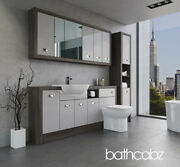 Bathroom Fitted Furniture Light Grey Gloss/mali Wenge A3 1800mm With Wall And Tall