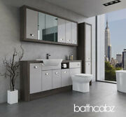 Bathroom Fitted Furniture Light Grey Gloss/mali Wenge A4 1800mm With Wall And Tall