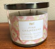 Pier One Imports Pink Champagne 3 Wick 14 Oz Jar Candle New