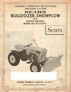 Sears Dozer Snow Plow 917.250181 Operator Instruction And Parts Manual