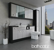 Bathroom Fitted Furniture Light Grey Gloss/hacienda Black A4 1800mm With Wall And