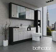 Bathroom Fitted Furniture Light Grey Gloss/hacienda Black A3 1800mm With Wall And