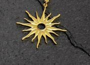 14k Solid Yellow Gold Sun Rays Chain Necklace 17 Inch Length