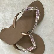 Havaianas Rose Gold Flip Flops With 4 Rows Crystals Ab Iridescent