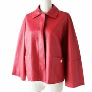 Hermes Women And039s With Logo Button Shibo Leather Jacket Red _51107