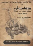 Jacobson Estate 24andrdquo Rear Wheel Drive Mower Operator Instruction Maint And Service
