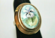 Vintage Lb Solid 14k Yellow Gold Hand Painted Porcelain Flowers Ring Sz 5.25
