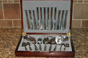Vintage Mcm Mid Century Modern Stainless Flatware Set Wello Service For 12