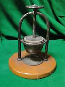 Olive Press Silver Plated And Wood Antique French 1890 Nice Old Vineyard Look