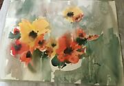 California Abstract Poppies Watercolor Painting Tom Fong Chinese American Art