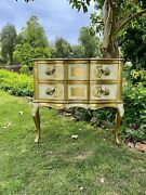 Antique Vintage Italian Florentine Ivory/gold Wooden Accent Table W/ 2 Drawers