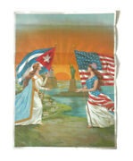Antique Lithographed Poster American Friends Women W/cuban And American Flags