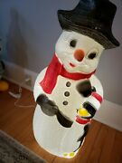 Vintage Christmas Snowman With Hat And Penguin Lighted Blow Mold - 32 Tall