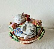 Fitz And Floyd Christmas Kitty Cat W/ Ornaments In Bowl 6 Trinket Box Candy Dish