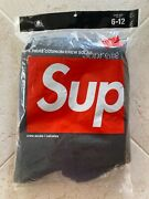 Supreme Hanes Crew Socks 4-pack Black 100 Authentic Size 6-12 - Free Shipping
