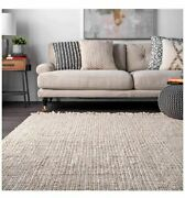 6and039 X 9and039 Hand Woven Chunky Natural Jute Farmhouse Area Rug Off-white