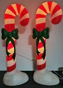 Blow Mold Christmas Candy Cane Decoration 42andrdquo Inches Lighted Pair