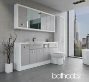 Bathroom Fitted Furniture Light Grey Gloss/white Matt A4 1800mm With Wall And Tall