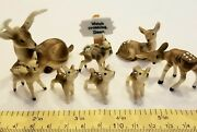 Vintage Set Of 9 Miniature Deer Family With Sign Bone China Figurines Animal Lot