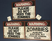 Signs Halloween 3 Haunted House Trail Do Not Feed Zombies Enter At Own Risk New
