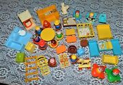 Vintage Fisher Price Little People Dollhouse Furniture Lot 52 And Other Pieces