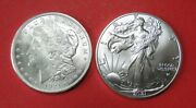 Two Coins- 1921 Silver Morgan Dollar And 2021 Silver Eage Type 2 Reverse