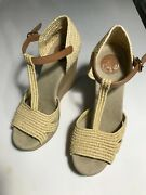 Womens Beige Leather Wedges Size 7m Peep Toe Ankle Strap Woven Look