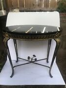 Antique Oval Marble Top And Wrought Iron Low Table In The oscar Bach Style
