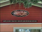 Americian Civil War Crossed Swords Custom Personalized Painted Sign 8x20 Inch