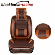 Deluxe Pu Leather Front And Rear Car Seat Cover 5 Seats Suv Cushions W/pillows Set