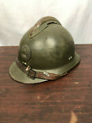 Original French Wwii Model 1926 Adrian Infantry Helmet With Liner And Chin Strap