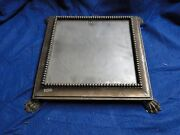 Silver Plated Wedding Cake Stand Antique Victorian 1880 Square Marked Bead Edge