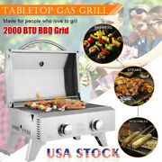 2-burner Stainless Steel Table Top Propane Gas Grill Outdoor Bbq Camping Picnic