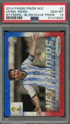 Lionel Messi 2014 Panini Prizm World Cup Net Finders Blue Red Wave Card Psa 10