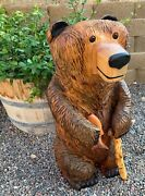 New 28 Inch Chainsaw Carved Bear Wood With Fish And Walking Stick