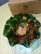 Fenton Glass Butterfly And Tulip Green Carnival Glass Bowl Large 187/500 Mib
