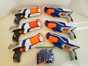 Lot Of 6 Nerf Elite Blue And Orange 6-shot Revolvers W/36 Ammo Tested And Working