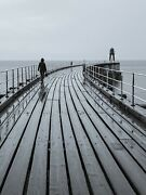 Walking Along Whitby Pier Yorkshire Coast Black + White Canvas Picture Wall Art