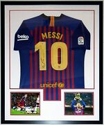 Lionel Messi Autographed Nike Barcelona Jersey Beckett Bas Coa Framed And Photo