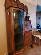 Antique Solid Oak Side By Side Secretary Desk W/ Mirror And Curved Glass