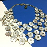 Rarest Find New Kate Spade Ny Mop Crystal Flowers Bib Necklace Gold Rr147zzq