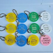 12 Vtg Sobriety Plastic Tokens Key Chains One Day At A Time We Care Multi Colors