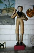Early Antique Italian 21 Paint Wood Figure Carved Hands And Arms Cloth Remains 2