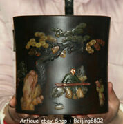 8 Marked Old Chinese Wood Inlay Conch People Kid To Play Brush Pot Pencil Vase