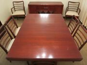 1950 Mid-century-art Deco Mahogany Dining Room Set-table-leaves-chairs-buffet