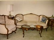 Antique Furniture Sofa French Provincial Sofa, Chair, Coffee Table And 2 End Table